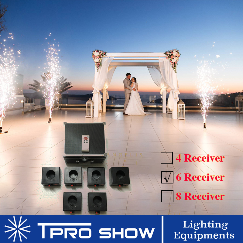 4/6/8 Cues Wireless Remote Control Pyro Effect Receiver Base Fountain Systems Cold Fireworks Firing Mini Machine For Weddings|Stage Lighting Effect| |  - title=