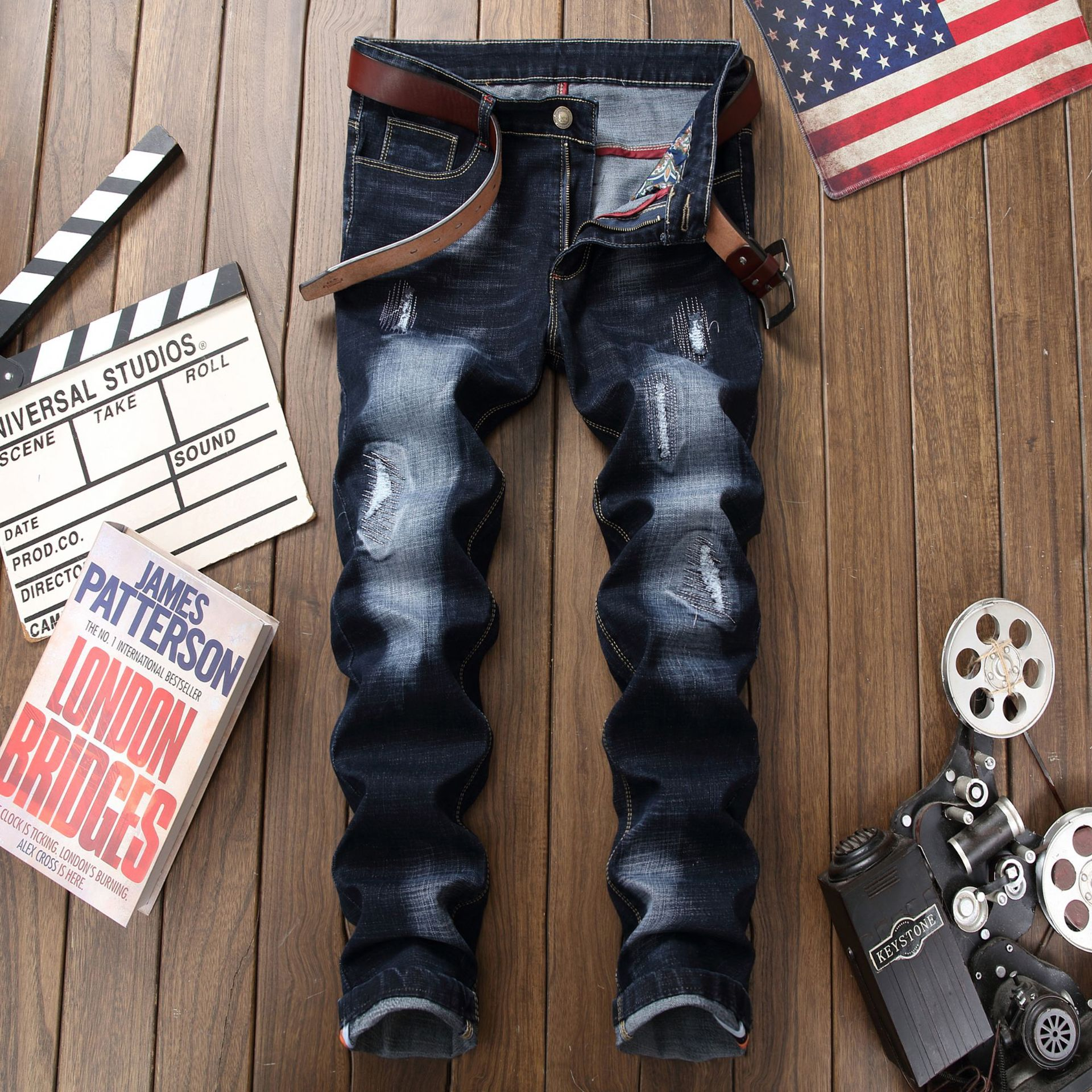 Europe And America Fashion-with Holes Jeans Men's Retro Faded Slim Fit Straight-Cut Stretch Trousers Men'S Wear Agent