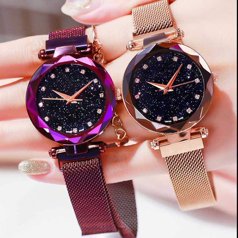 Marca superior estrela relógio para as mulheres rosa ouro malha ímã céu estrelado quartzo relógio de pulso gradiente senhoras relógios de pulso relogio feminino