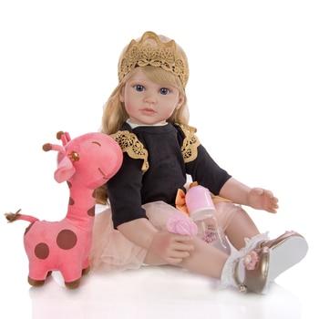 Big 60 cm bebes Reborn Toddler Girl Dolls lifelike black dress Princess blond wig silicone vinyl baby doll lol For Kids gift toy - discount item  43% OFF Dolls & Accessories