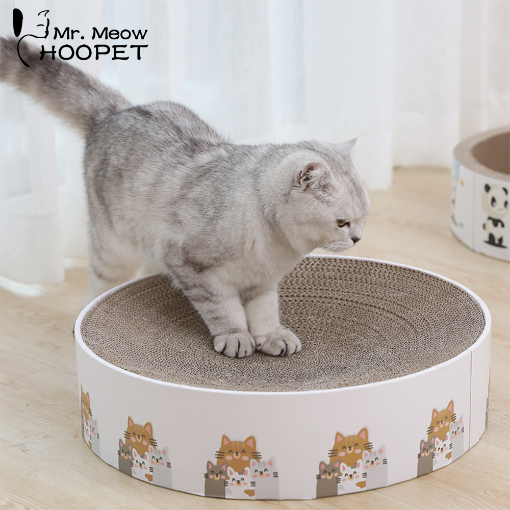 Hoopet Cat Toy Scratching Post Board With Catnip Toys for Cats Pet Corrugated Interactive Play Toy Cats Supplies