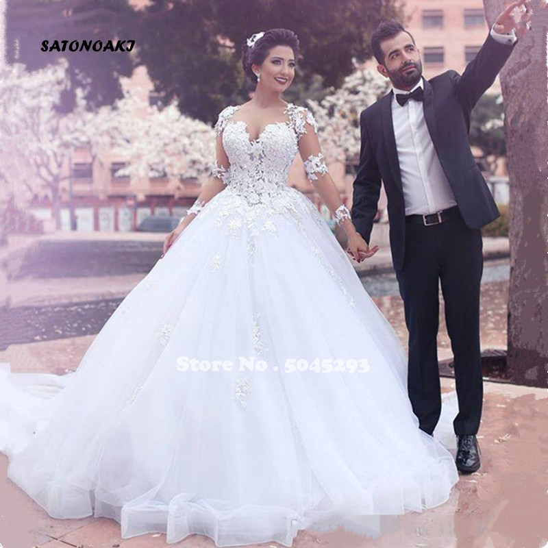 SATONOAKI Ball Gown Wedding Dresses 2020 Elegant Lace Appliques Tulle Wedding Gowns Long Sleeve Bridal Dresses Vestido De Noiva