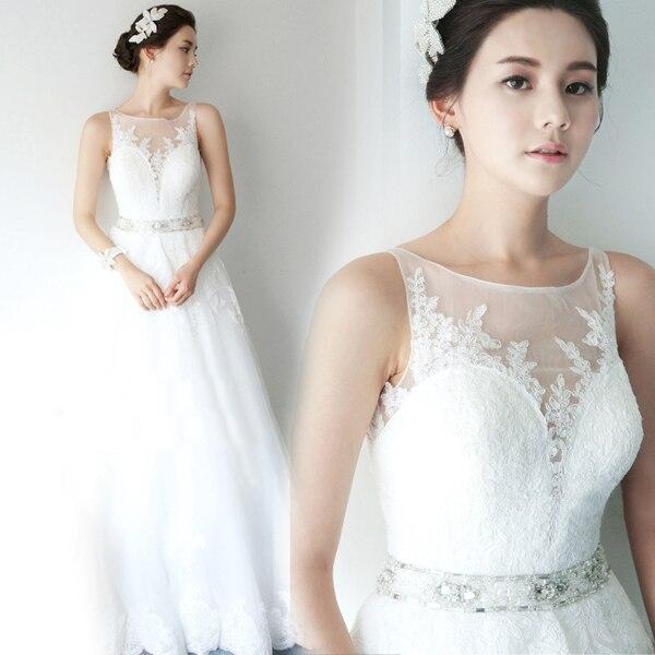 Free Shipping Sexy Romantic 2016 Casamento Crystal Belt Vestido De Noiva Renda A-line Bridal Gown Appliques Cheap Wedding Dress