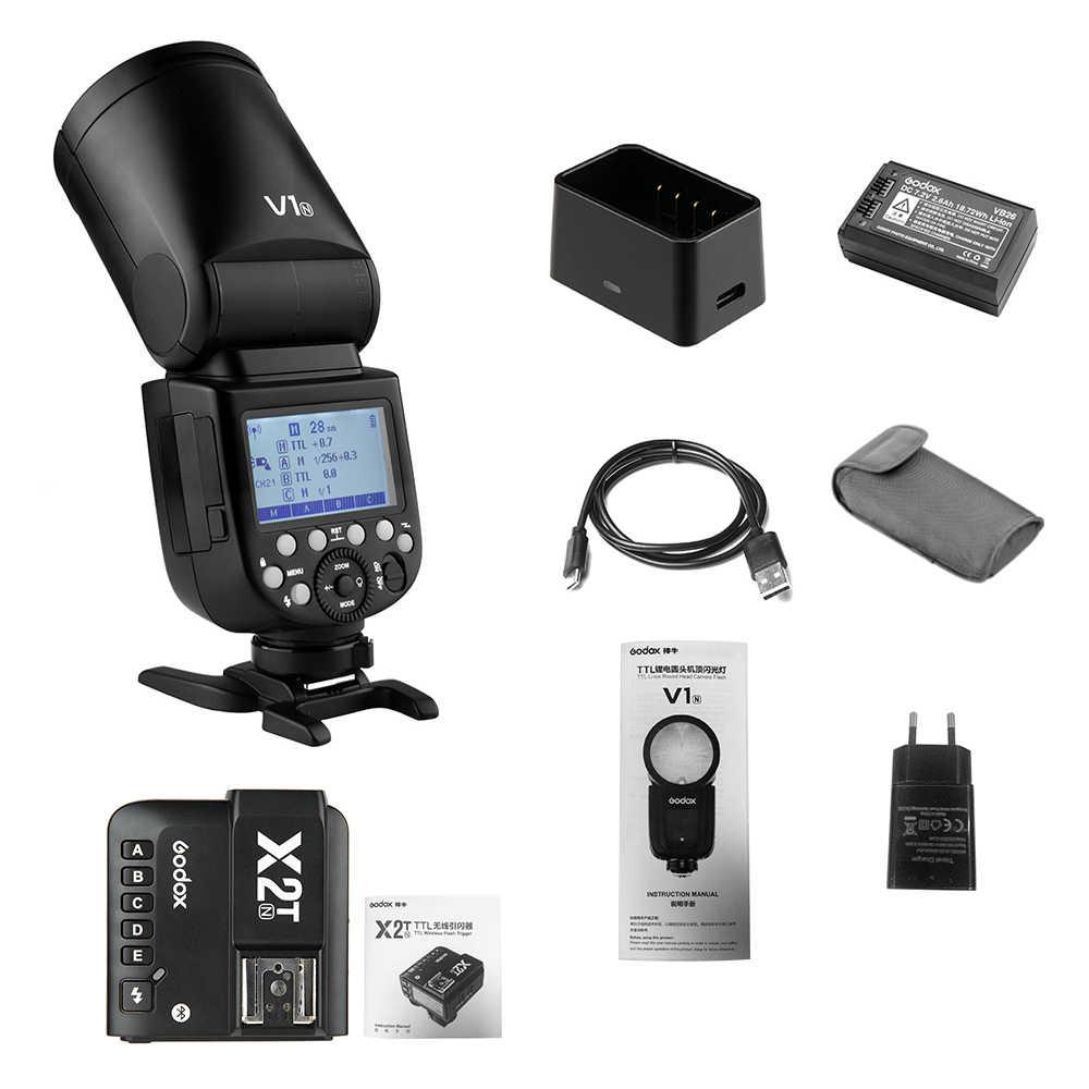 Godox V1N профессиональная вспышка для камеры Speedlite + X2T-N i-ttl Беспроводная вспышка триггер с круглой головкой HSS для камеры Nikon D750 D850 Z7