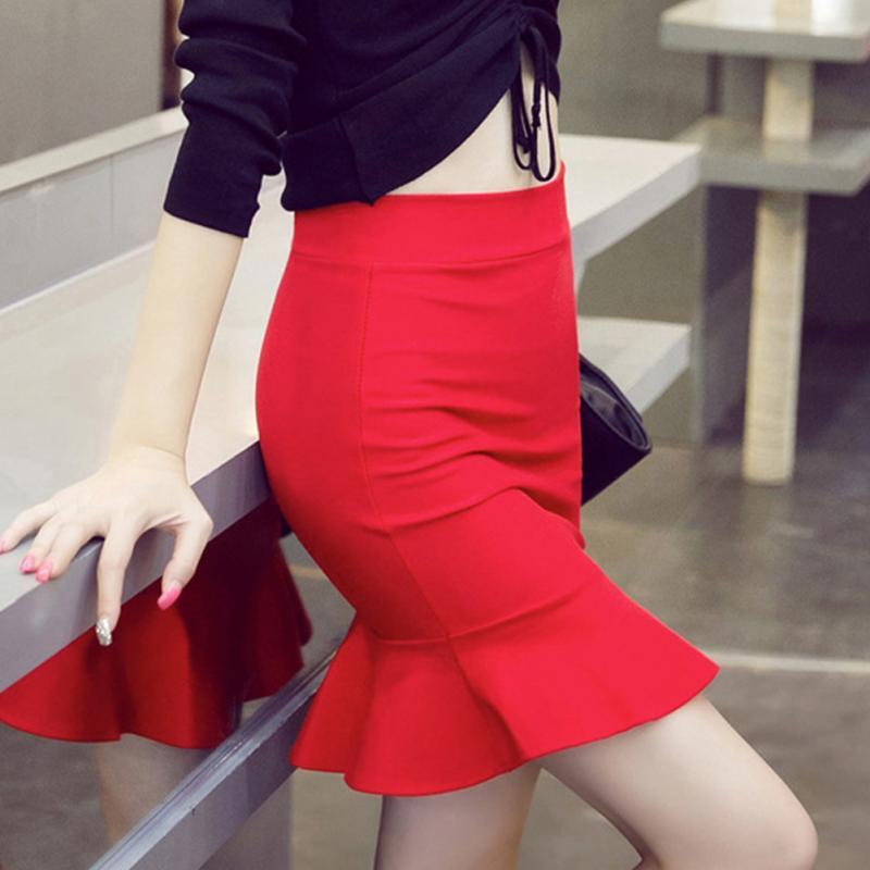 Women Fashion Fish Tail Skirt Female Sexy Short Mini Tight Skirt Solid Color Ruffle  Skirt Red Black Summer Slim Skirt 2019
