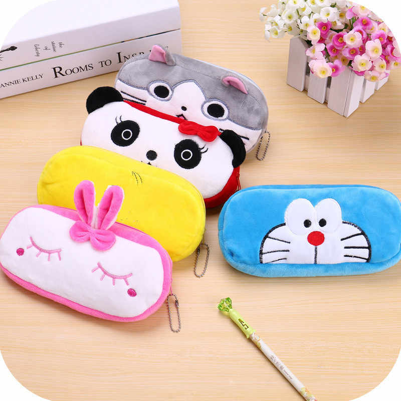 Kawaii Animal Pencil case Cartoon panda bear fruit pen bag box for kids gift Cosmetic Stationery pouch school supplies Zakka