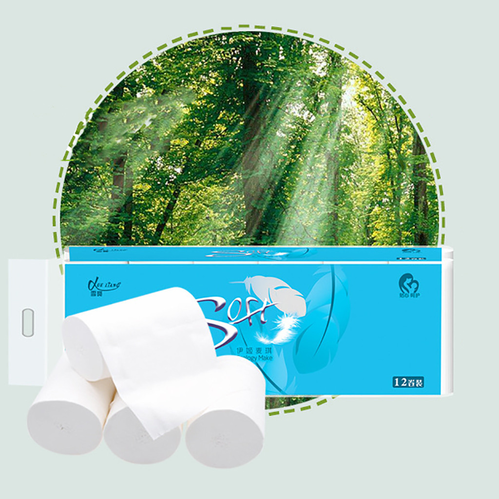 12Roll/Lot Toilet Paper Roll Paper Large Baby Multifold Soft Paper TowelsToilet Paper Tissue Kitchen  Paper Towel @3