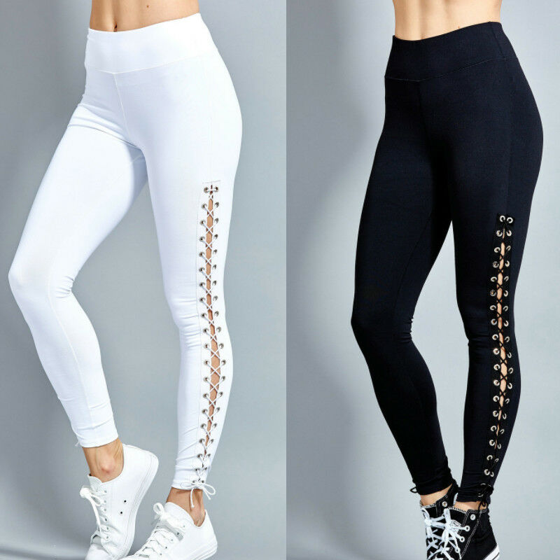 Fashion Women High Waist Lace Up Leggings Pencil Pants Slim Bandage Trousers Gym Fitness Training Track Pants