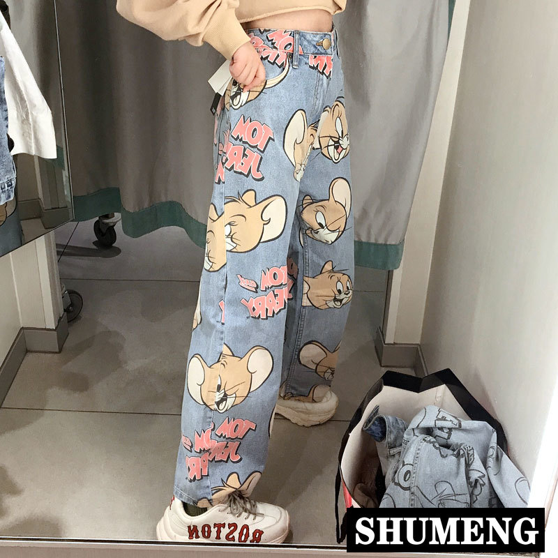 Woman Jeans High Waist Loose Straight Pants 2020 New Fashion Korean Style Cartoon Printed Zipper Casual Female Long Trousers