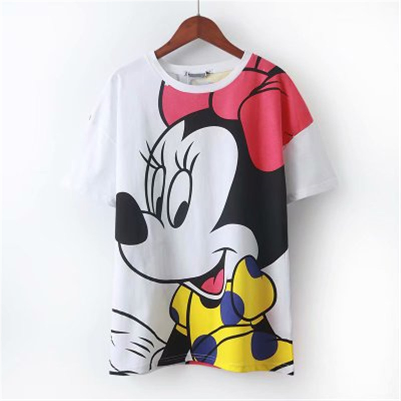 Minnie-Ocasional-Das-Mulheres-T-Camisa-Dos-Desenhos-Animados-dos-desenhos-animados-imprimir-Camiseta-branca-Camiseta