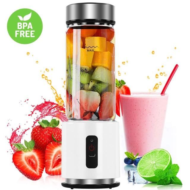 380ml 4000mAh USB Rechargeable Portable Glass Cup Personal Mini Blender Juicer Vegetable Fruit Citrus Orange Juice Maker Mixer