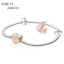 XIAOYI 100% 925 Sterling Silver Romantic Christmas B801090 pandoras Labyrinth Double Heart Bracelet Gift Set(China)