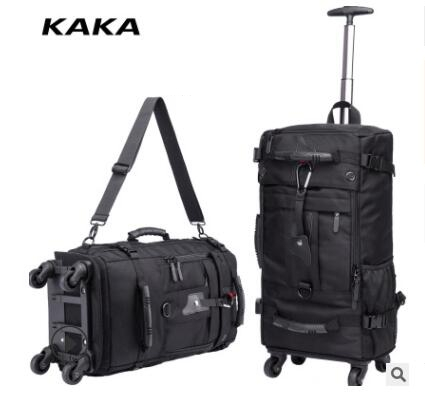 KAKA Men Travel trolley rucksack Rolling Luggage backpack bags on wheels wheeled backpack for Business Cabin Travel trolley bags image
