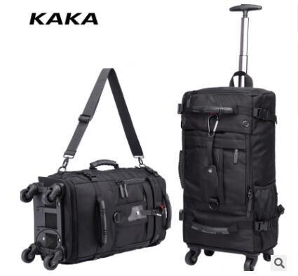 Kaka homens viagem trole mochila rolando bagagem sacos sobre rodas rodas mochila para a cabine de negócios viagem trole sacos