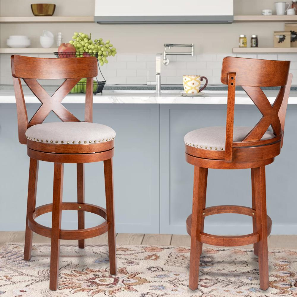 Retro Wooden Bar Chairs Soft Leather Swivel Counter Height Stool for  Kitchen Bar Dining Chairs Swivel Stools with Cross Back