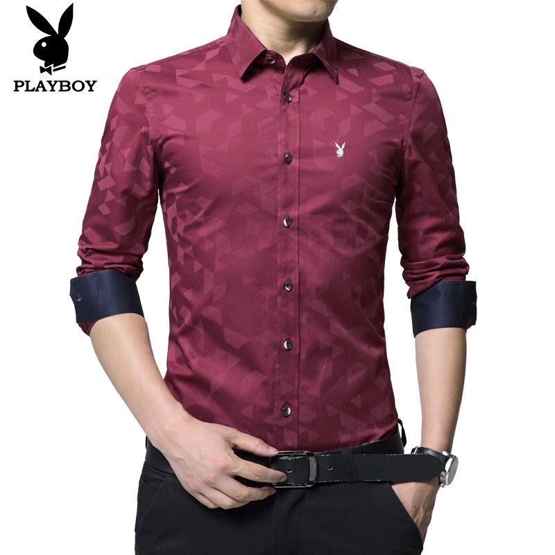Playboy Fashion Soft Comfortable High Quality Trendy Men's Business Casual Shirt Long Sleeve Shirt