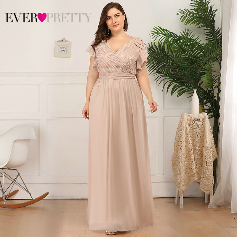 Plus Size Mother Of The Bride Dresses Ever Pretty EZ07709 Elegant A-line Chiffon Navy Blue Party Gowns Robe Mere De La Marie