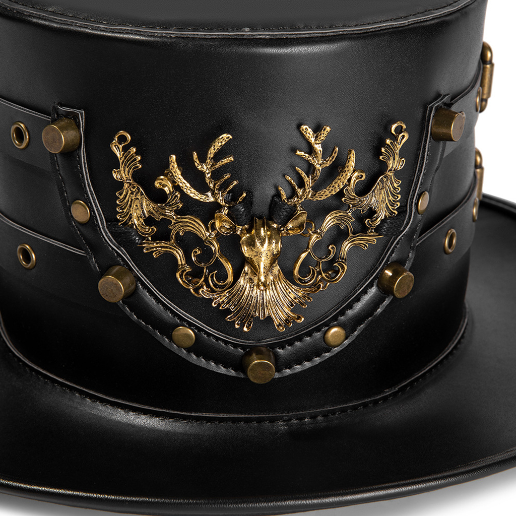 Magician Top Hat Leather Steampunk Party Caps Vintage Fancy Dress Accessory