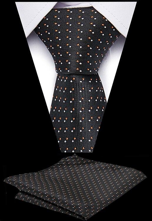Fashion Men's Stripe Tie 7.5 Cm 100% Silk Handkerchief Ties Set Business Necktie Wedding Formal Dress Accessories Gifts For Men
