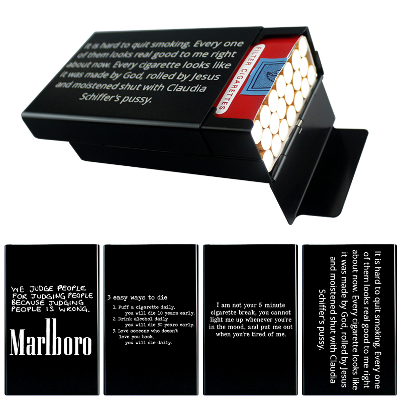 20-Sticks Metal Box Cigarette Case Blue Gold Red Text Name LOGO Personalized Custom Engraving Funny Gift For Buddy Brothers