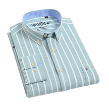 Dress Shirt Long-Sleeve Blous Regular-Fit Chemise Streetwear Business Oxford Men's Striped