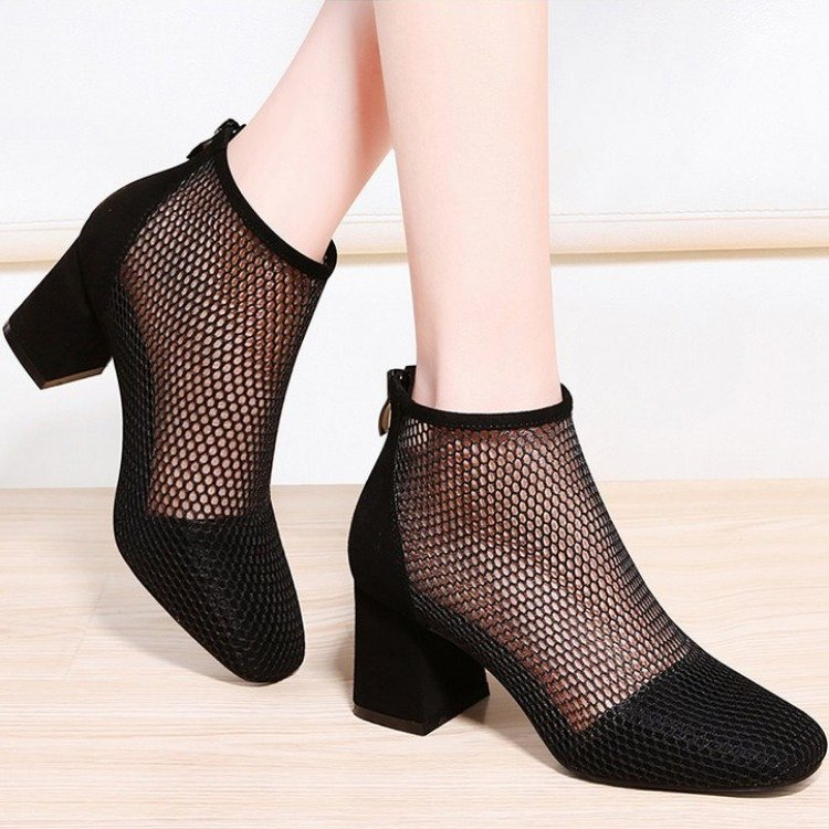 EOEODOIT 2020 Spring Pumps Mid Square Heel Square Toe Network Sexy Stylish Short Ankle Boots Summer Heels Sandals