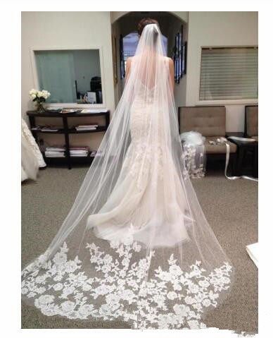 Hot Selling Long Veils For Bride 2020 Cheap Bridal Hair Accessories Chapel Length Applique Tulle Wedding Bridal Veils