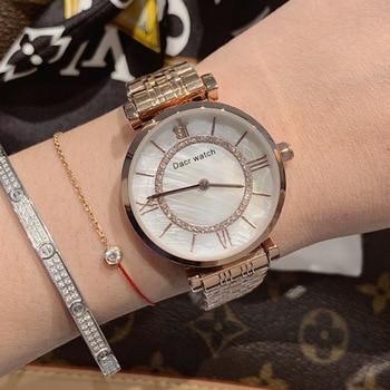 DACR's new women's steel belt watch fashion trend light luxury stainless steel female girl quartz watch women rose gold watch