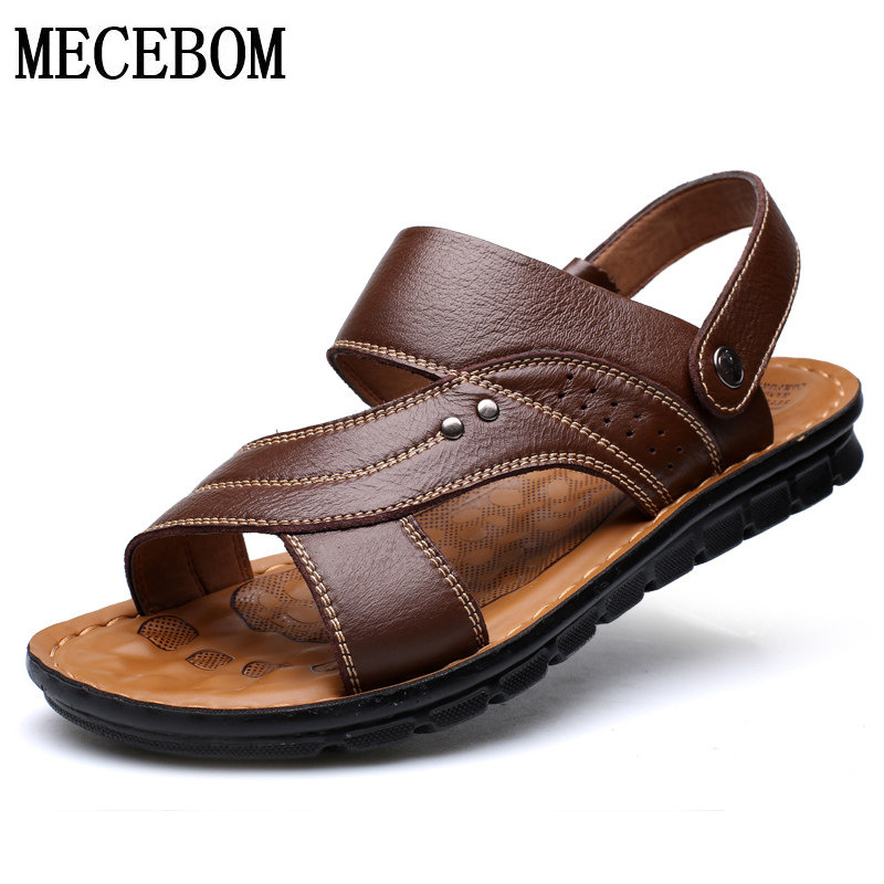Summer Men Sandals Quality Genuine Leather Shoes Male Comfortable Slip-on Slippers Beach Brown Man Sandal Zapatillas Hombre
