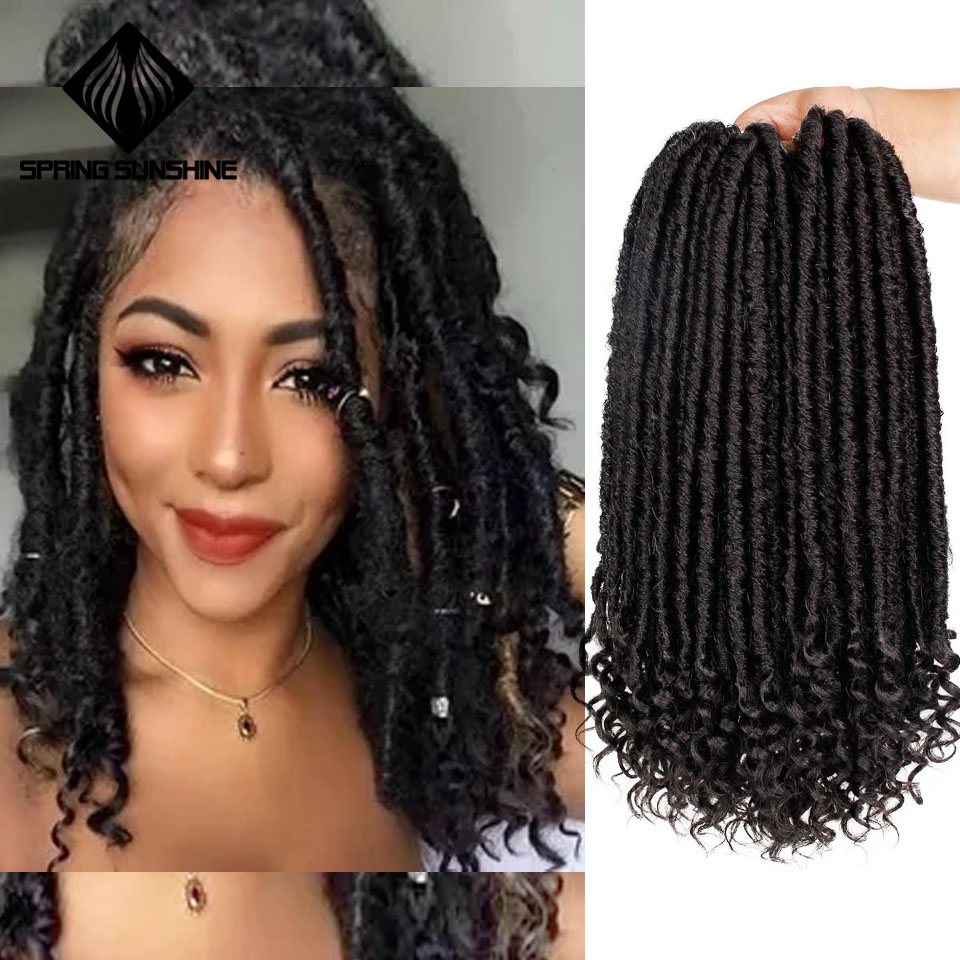 Spring Sunshine Goddess Hair Ombre Faux Locs Crochet Braids 16 20inch Soft Natural Braid Synthetic Braiding Hair Extension