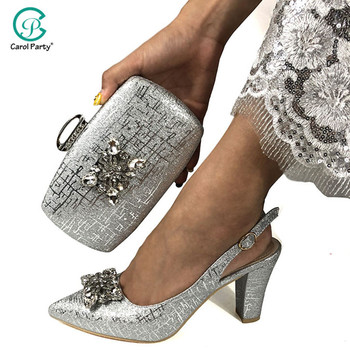 Newest Silver Color Italian design Ladies Shoe and Bag Set Decorated with Rhinestone Nigerian Shoe and Bag Set for Party