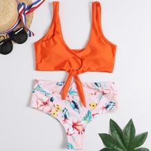 цена на High Waisted Bikini High Rise Knotted Women Swimsuit Floral Scrunch Bikini Swimwear Scoop Neck Padded Biquni Bathing Suit