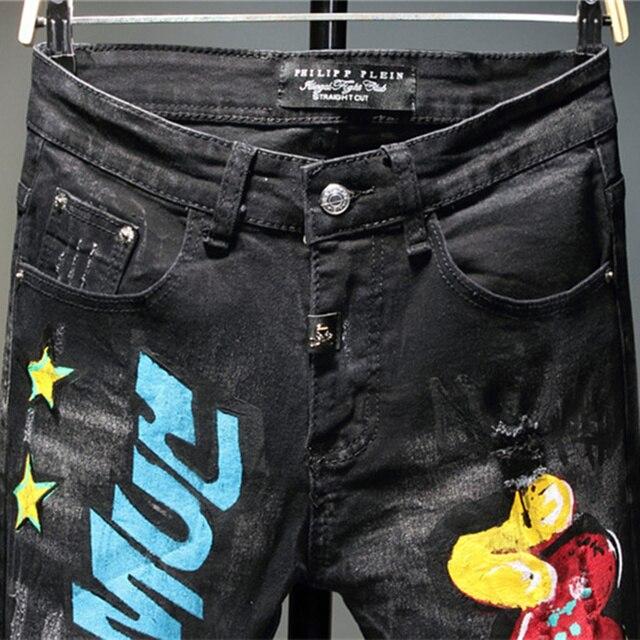 Pantalones vaqueros con Graffiti para hombre, pantalón informal de otoño, microelástico, estampado, a la moda, con personalidad 3