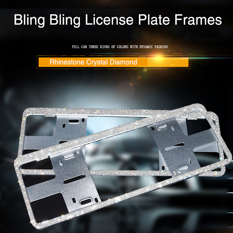 Luxury Crystal Diamond Car License Plate Frames Handmade Sparkly Bling Rhinestone Stainless Steel Metal Frames Fashion|License Plate| |  - title=
