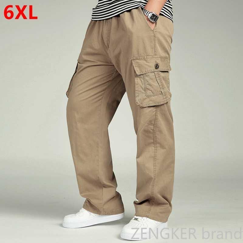 Calças masculinas para primavera e outono, soltas, tamanho grande, xl, retas, tamanho grande, cintura elástica, calças casuais 6xl 5xl 4xl 3xl