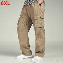 الربيع والخريف الرجال فضفاضة كبيرة الحجم XL مستقيم السراويل المعتاد مرونة الخصر بنطلون سراويل تقليدية الرجال 6XL 5XL 4XL 3XL