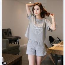 Summer Cartoon Cotton Pajamas Set Women Pyjamas Sleepwear Ni