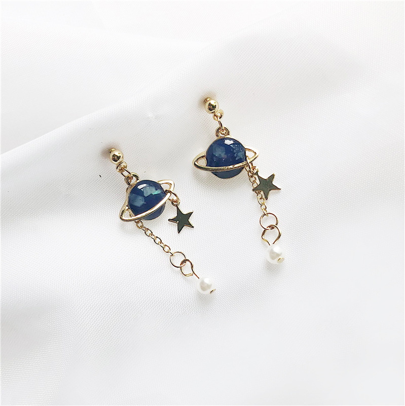NEW RUANME Original Universe A Pair Of Earrings Lovely Romantic Drop Glaze Asymmetric Stud Earrings Jewelry Earring Little
