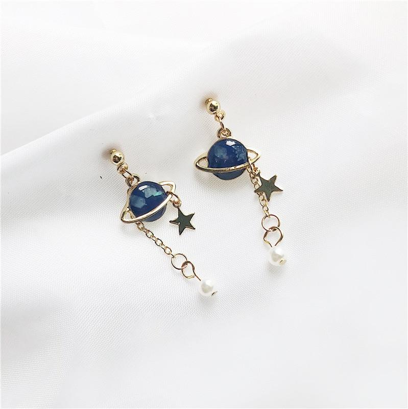 NEW RUANME Original Universe A Pair Of Earrings Lovely Romantic Drop Glaze Asymmetric Stud Earrings Jewelry Earring Little