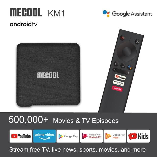 Mecool Tv Box KM1 Andriod10 4G 64GAmlogic S905X3 ATV box tv Dual Wifi 4K Voice Google Certified Andriod tv box Youtube smart box