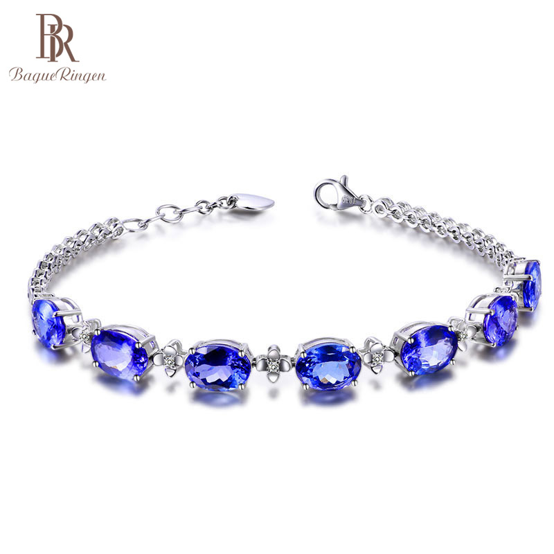 Bague Ringen Luxury 100% 925 Sterling Silver Bracelets For Woman With Blue Sapphire Gemstone Lady Fine Jewelry Wholesale Gift