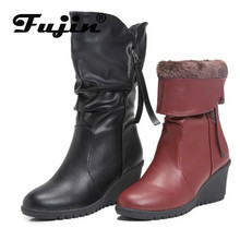 Fujin Women Boots Explosion Proof European and American Thick Bottom Slope Round-head Middle-barrel Boot Large Size