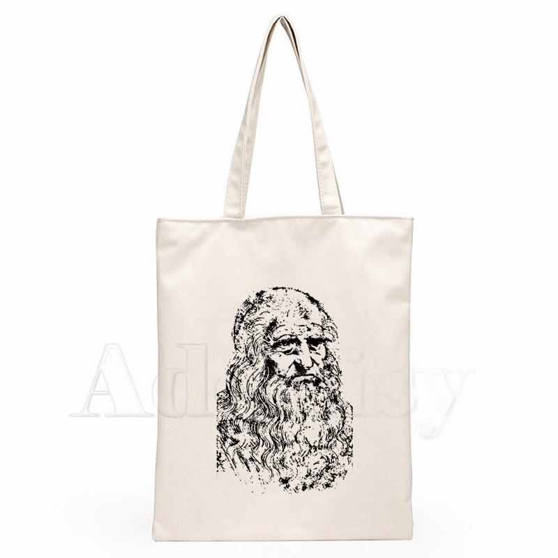 Da Vinci Rock Music Guitar Graphic Cartoon Printed Canvas Shoulder Bag Female Harajuku Funny Large-capacity Eco Shopper Bag