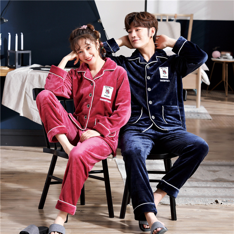Lover Pajama Female Autumn Flannel Can Wear A Suit Winter Section Thick Warm Coral Cardigan Men Winter Long Sleeve Pajamas