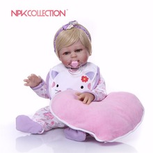 NPK 46cm Red reborn dolls soft silicone baby bebes princess nice purple clothing heart plush doll gift kids toys