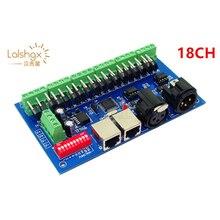 DC12-24V 18CH Channels 3A/Ch DMX512 With XLR RJ45 Easy DMX LED Decoder Controller Dimmer for LED RGB Strip Light Modules
