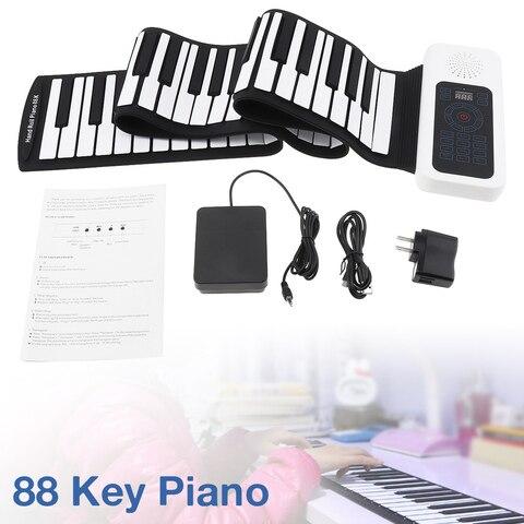 Acima do Piano Órgão de Teclado Embutido com Pedal de Sustentação Teclas Portátil Midi Rolam Silicone Eletrônico Flexível Alto-falante 88 Usb