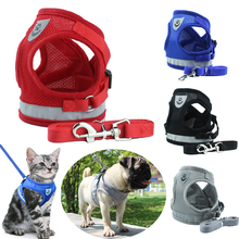 Reflective French Bulldog Pug Dog Vest Harness Lead Sets Breathable Pet Harness for Small Medium Dogs Puppy Cat Walking Leash breathable small dog pet harness and leash set puppy cat vest harness collar for small medium dogs cute safety pet chest straps