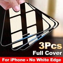 3 pçs capa completa de vidro protetor de tela para o iphone 11 pro max filme de vidro temperado no iphone x xr xs max borda curvada