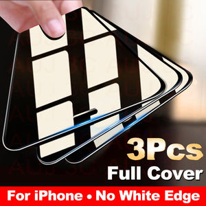 Image 1 - 3PCS Full Cover Protective glass on For iPhone 11 Pro Max tempered Glass Film On iPhone X XR XS Max Screen Protector Curved Edge